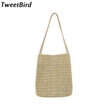 84524151dc19 TweetBird Summer Women Beach Bag Handmade Cool Braid Straw Handbag Casual  Single Shoulder Bags Handbag Woven