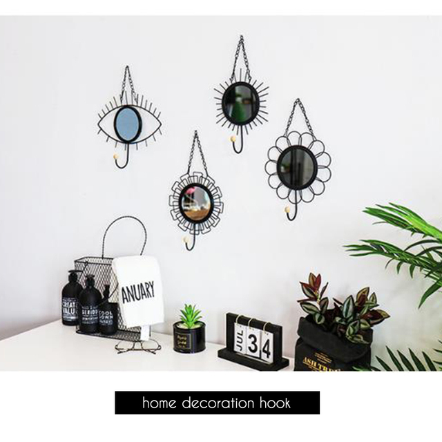 Nordic style Geometric Eye Flower Design Mirror Iron Art Hooks Wall Hanging Handmade Home Decoration Hook For Key Clothes 5