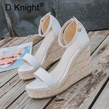 Sandales à talons hauts pour femmes, chaussures style gladiateur, sandales style Rome, bretelles, escarpins en corde de chanvre et paille