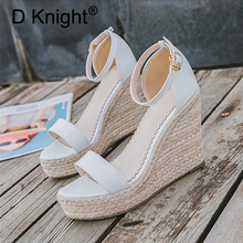 Women Gladiator Wedges High Heel Sandals Shoes Woman Rome Buckle Strap Espadrilles Women Pumps Straw Hemp Rope Platforms Sandals
