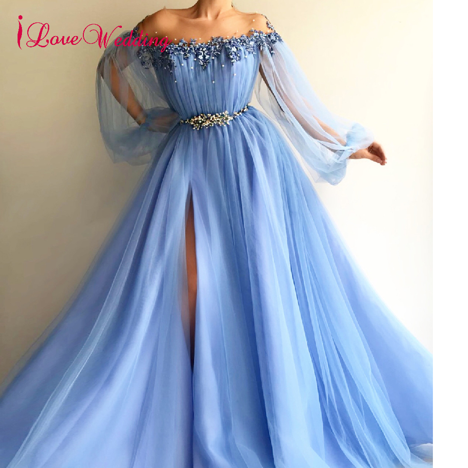iLoveWedding 2019 Evening Dress  Robe De Soiree Sky Blue Delicate Beaded Long Sleeves Side Split Formal Long Sexy Evening Gowns