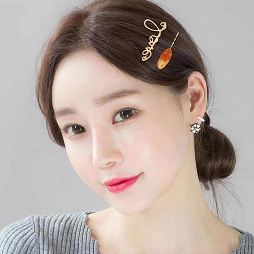 2pcs/Set Korea Japan Metal Gold Pearl Letter Acetate Hair Clip for Women Girl Wedding Party Hair Accessories Jewelry Dropship