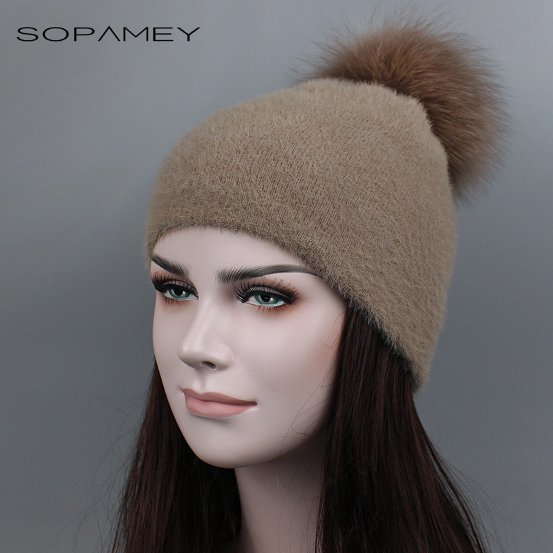 Real Raccoon Fur Pompom Hats Skullies for Women Thick Gravity Falls Cap Wool Knitted Caps girl Autumn Winter Beanies Female Hat 2017 classic russian women super good quality wool beanies hats with real fur ball knit caps solid skullies casual cap