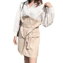 Women Lapel High Waist Mini Shirt Dress Patchwork Sashes A-Line Long Sleeve Casual Dresses