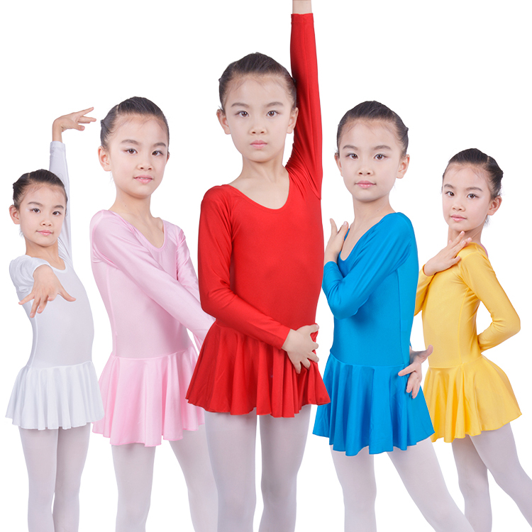 New 2017 Kids Ballet Long Sleeve Gymnastics Leotard For Girls Ballet Dress For Children Dance Tutu Dress
