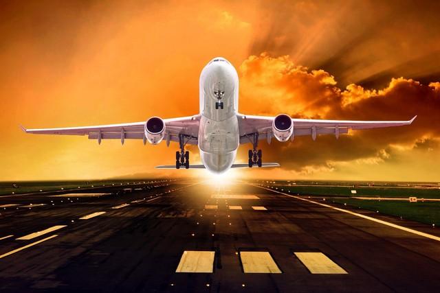 Passagier Flugzeug Nimmt Abends Lichter Sky Rays Sonne MA57 Wohnzimmer Home  Wand Moderne Kunst Dekor Holzrahmen