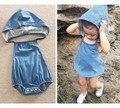 Moda de Nova 2017 Bebê Infantil Menina Menino Jean Com Capuz Bodysuit Playsuit Macacão Bebe Recém-nascidos Bodysuits Playsuits macacões Roupas