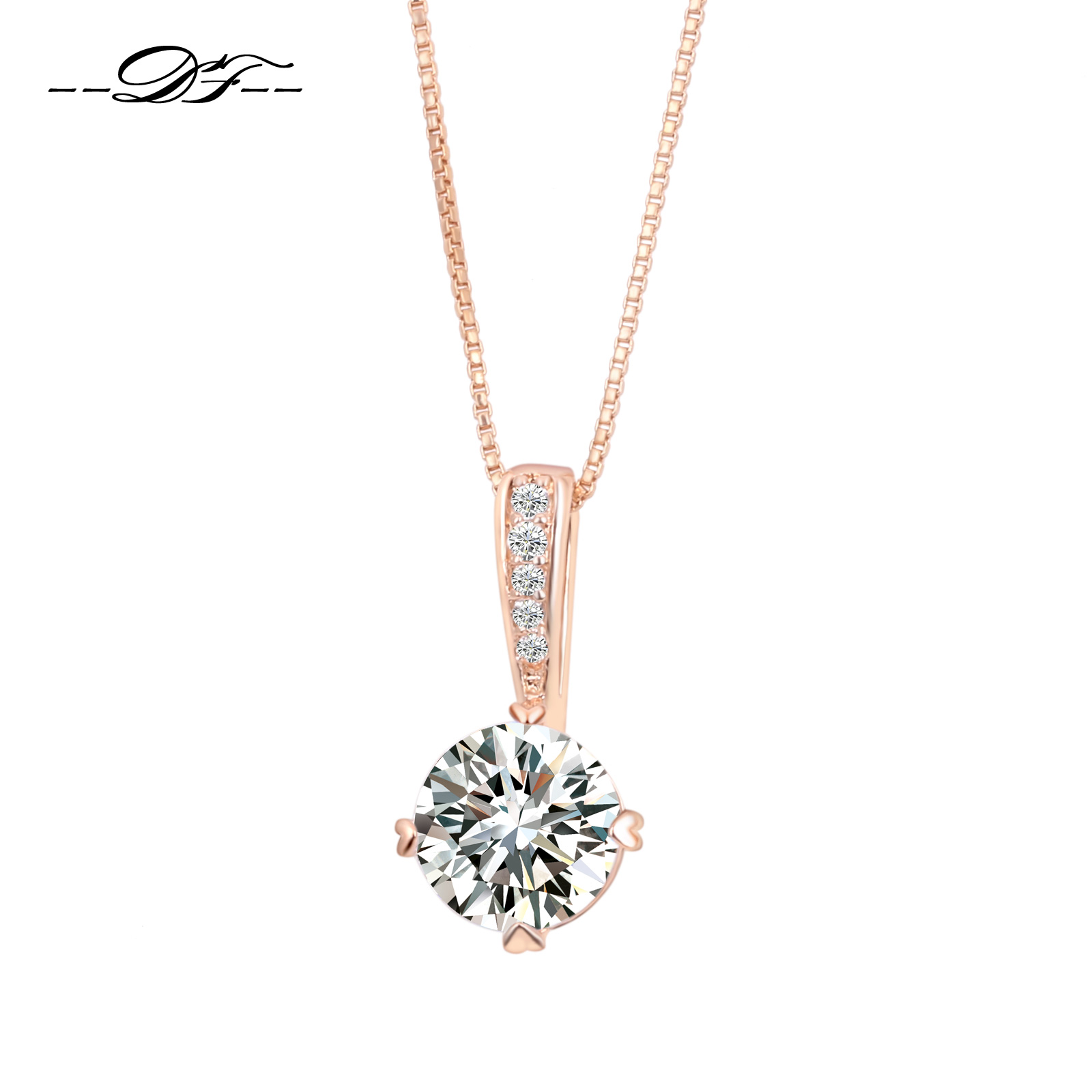 8a89047829b Double Fair OL Style Cubic Zirconia Chain Necklaces & Pendants Rose Gold  Color Fashion Crystal Wedding Jewelry For Women DFN426