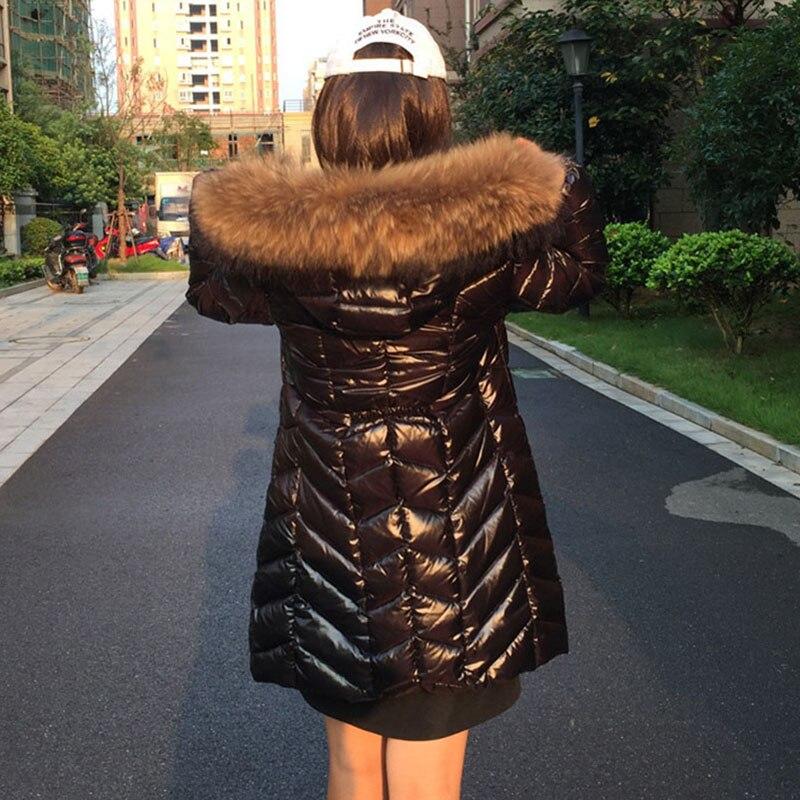 Noir 90 Black Laveur Mince Big Canard Mode Raton Épaisse D'hiver Fourrure De Manteau Pj346 vent Doudoune Femmes Col Coupe Longue Survêtement Star Blanc YYwABqE