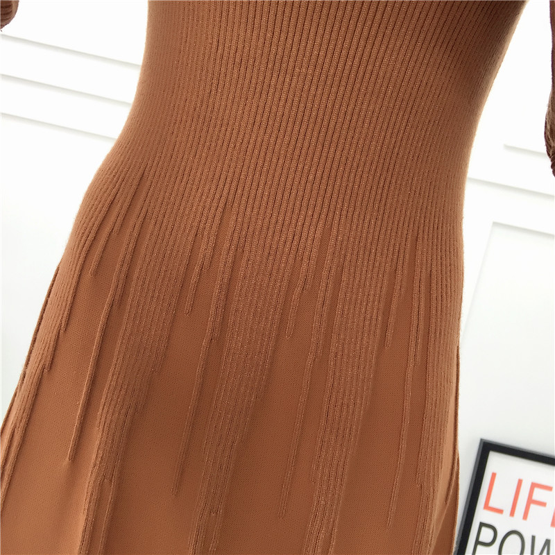 winter dress long sleeve woman casual knitted long dress retro vintage women elegant a-line office dresses
