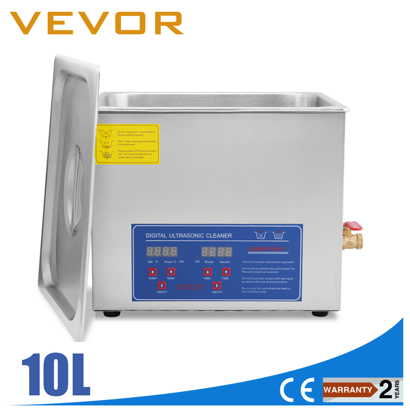VEVOR Ultrasonic Cleaner 2.64 Gallon 10 L Heated Ultrasonic Cleaner With Digital Timer Jewelry Watch Glasses Cleaner