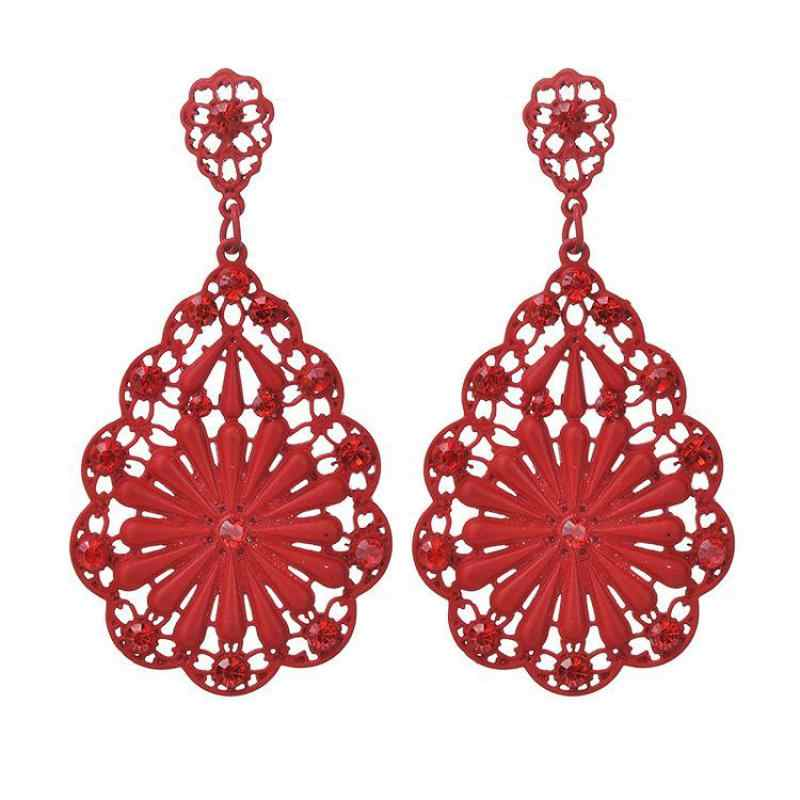 New Fashion Red Flower Crystal Red Black Statement Jewelry Earring For Women Wedding Dangle Drop Earrings Wholesale Party