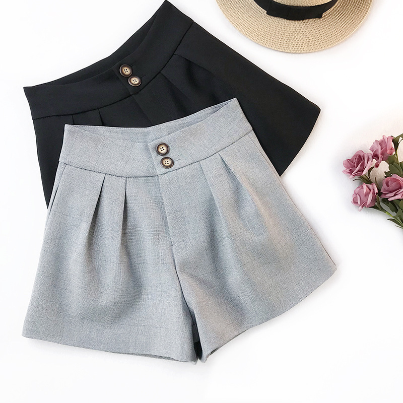 AcFirst Casual Spring Black Gray Polyester Women Shorts Women Button Fly High Waist Shorts Camel Women Short Bottom Formal