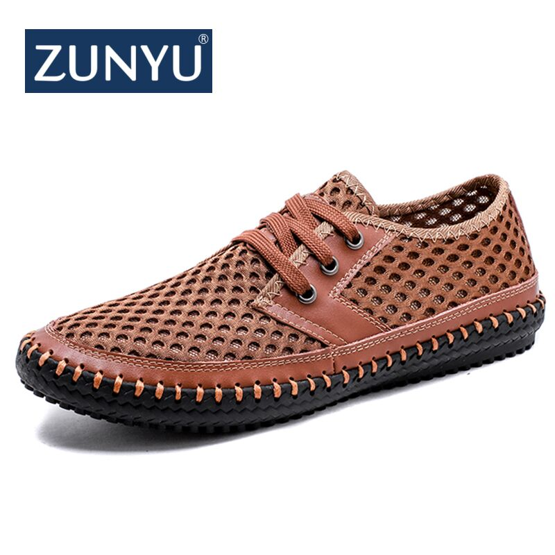 ZUNYU New Men's Casual Shoes Summer Breathable Mesh Shoes Brand Men Fashion Lace-Up Loafers Soft Comfortable Flats Size 38-48 mvp boy brand 2018 new summer mesh air mesh men breathable loafers black shoes spring lightweight fashion men casual shoes