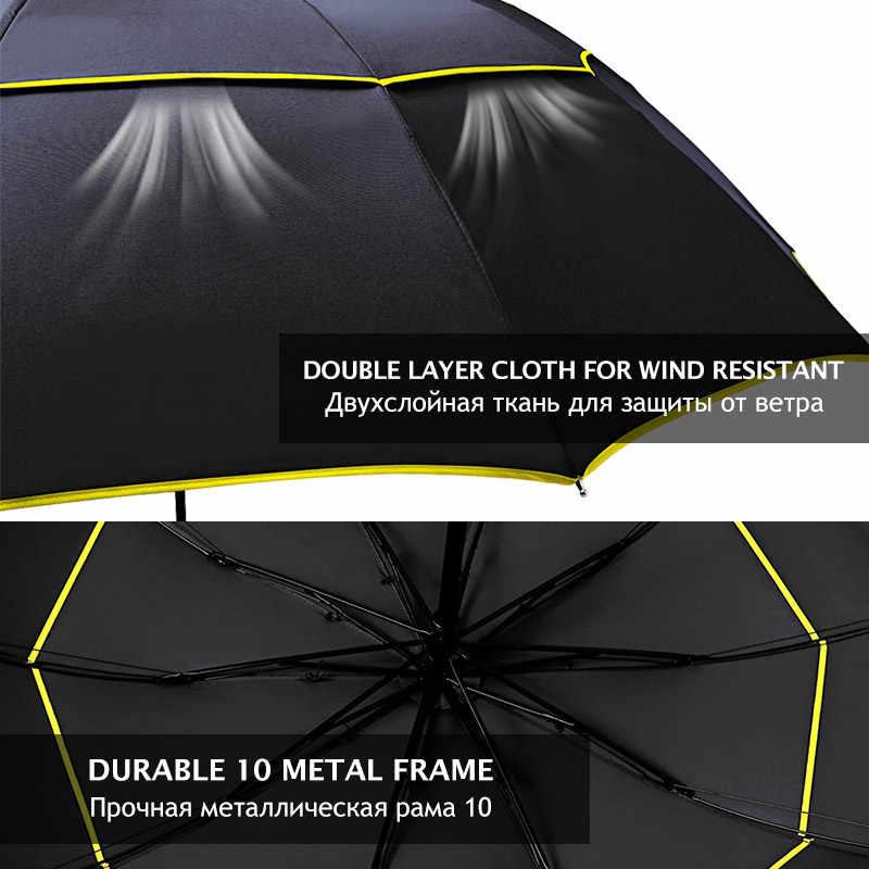 130 Cm Double Kuat Tahan Angin Payung Hujan Wanita Besar Lipat Non Otomatis Payung Pria Keluarga Perjalanan Bisnis Paraguas