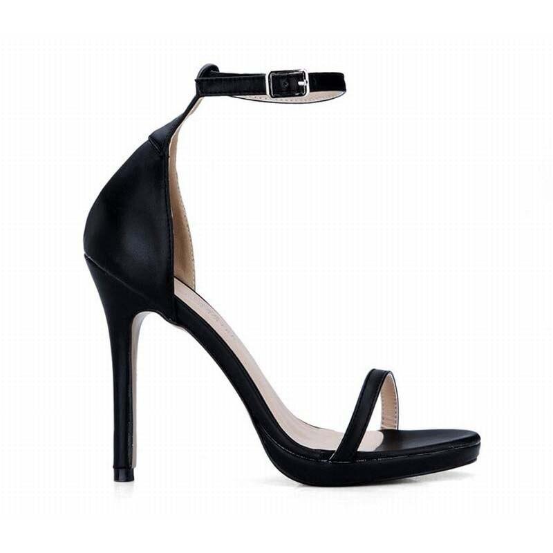 76c7260375 Tamanho grande 35-43 mulheres bombas de alta plataforma de salto alto  sandálias senhoras sexy do verão moda feminina fivela sandália de couro  preto sapato ...