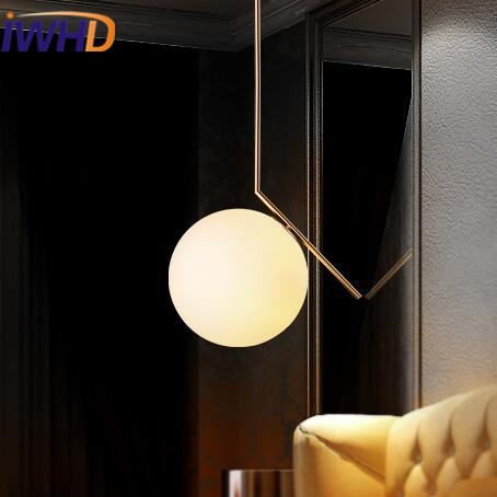 IWHD Glass Ball Modern Pendant Lamp Fashion Iron LED Hanging Light Fixtures Bedroom Living Room Cafe Suspension Luminaire Lustre modern round glass ball led pendant light restaurant cafe hanging lamp lamparas suspension luminaire home lighting fixtures