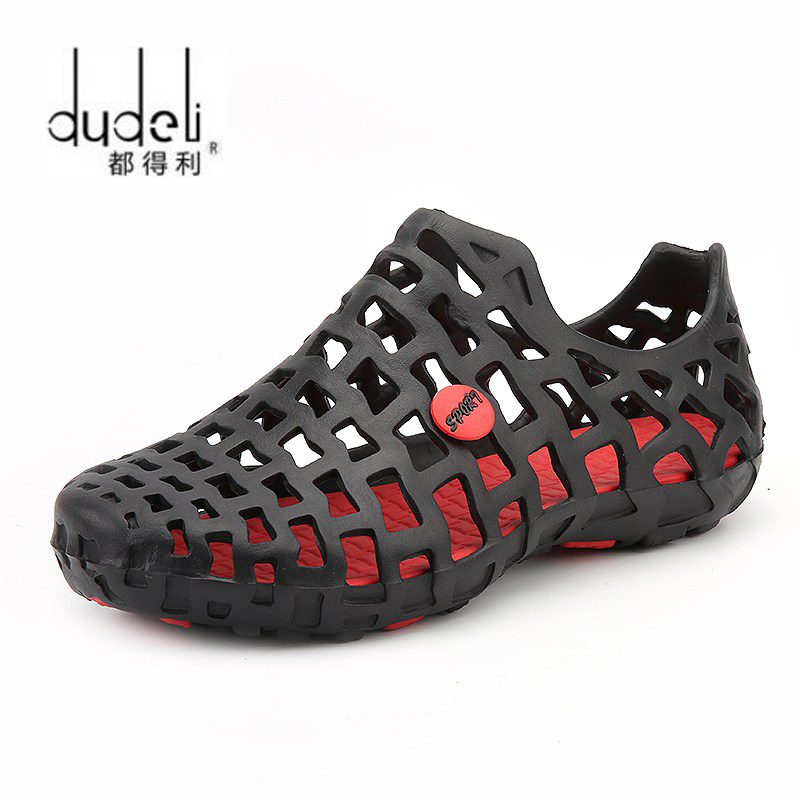 DUDELI Summer Men Fashion Flats Hollow Out Hole Beach Breathable Sandals Light Casual Beach Shoes Soft EVA Injection Comfortable