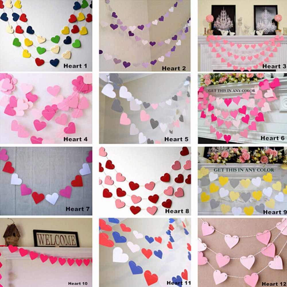 1m 12 Colors Colorful Handmade Heart Paper Wedding Party Decoration Garland banner Children Room Wall Hangings Props Decoration