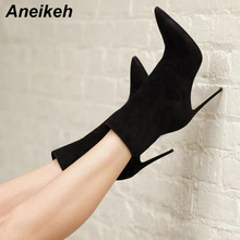 Aneikeh 2018 New Flock Women Ankle Boots Pointed Toe High Heels Slip-On Sexy Sock Heels Booties Pumps botas mujer Size 35-40