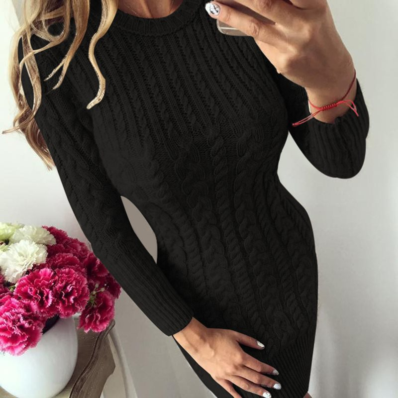 Women Fashion Knit Sweater Round Neck Long Sleeves Dress Lady Plain Patchwork Bodycon Above Knee Dresses in Dresses from Women 39 s Clothing