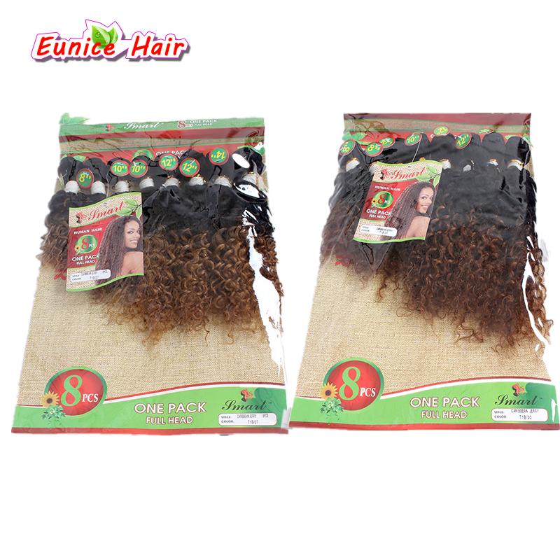 Deep Curl weave Ombre human curly hair 1B/27 Ombre brown Hair Extensions 8-14inches Crochet Curly Hair Peruvian afro Kinky curl