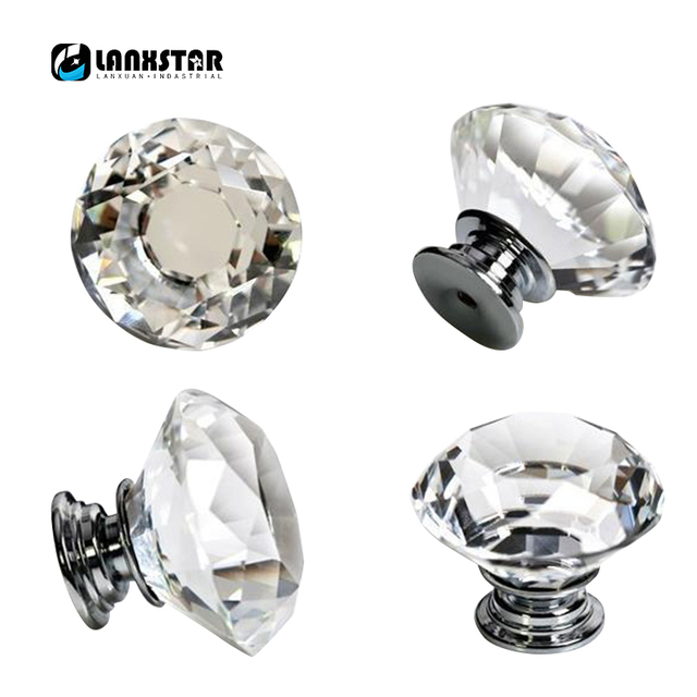 Factory Supply High End Diamond Style Crystal Handle Closet Door Handles  40mm Knobs