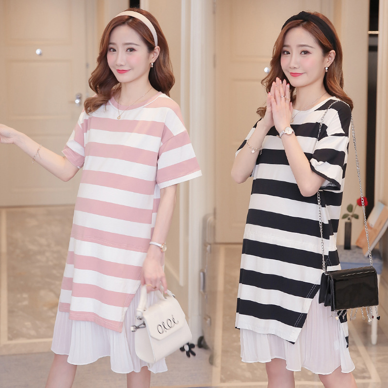 2018 New Summer short-sleeved T-shirt large size maternity stripe dresses fake two pieces pregnant women dress pregnancy clothes