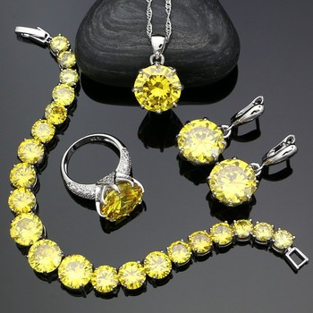 925 Sterling Silver Bridal Jewelry Sets For Women Yellow Cubic Zirconia Earrings Pendant Ring Bracelet Necklace Set trendy water drop blue cubic zirconia white cz 925 sterling silver jewelry sets for women earrings pendant necklace bracelet