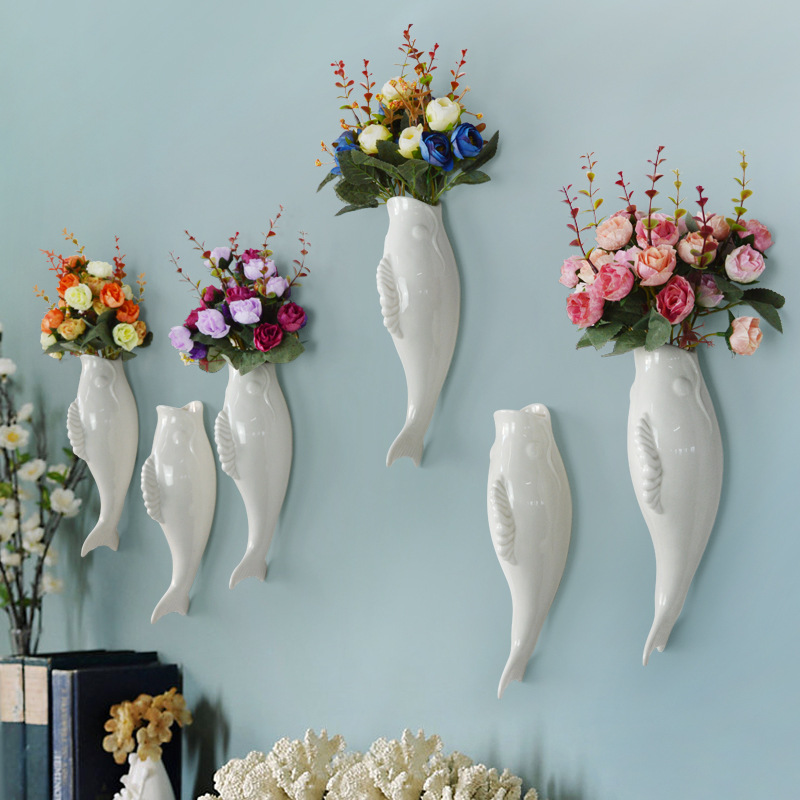 Modern Minimalist Nordic Resin Fish Wall Flower Vase Figurines Home Wall Decoration Accessories Animal Sculpture Statue Crafts