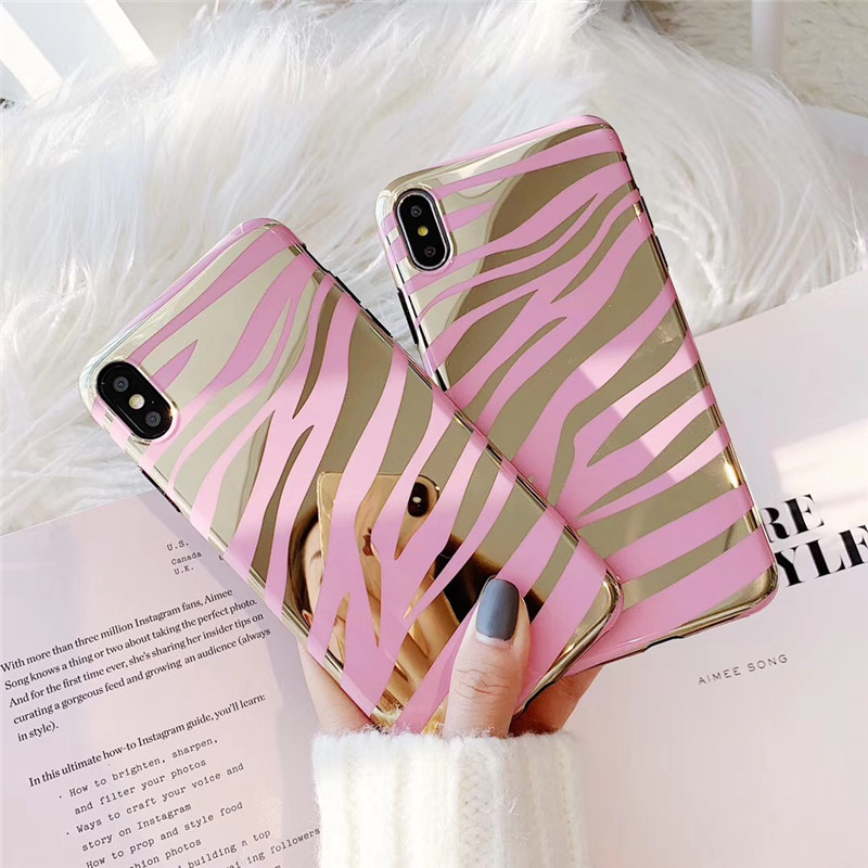 3D luxury pink zebra pattern plating <font><b>cover</b></font> case for <font><b>iphone</b></font> <font><b>6</b></font> S 7 8 plus X XR XS MAX cute sexy girl black Soft side phone coque image