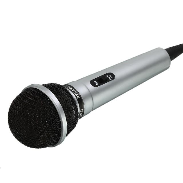 Universal 3.5mm Wired Microphone Protable Public Transmitter KTV Karaoke Recording Black Silver