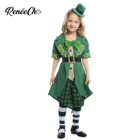 Reneecho Charming Leprechaun Girl`s Costume Saint Patrick's Day Costume For Kids Holiday Party Cosplay
