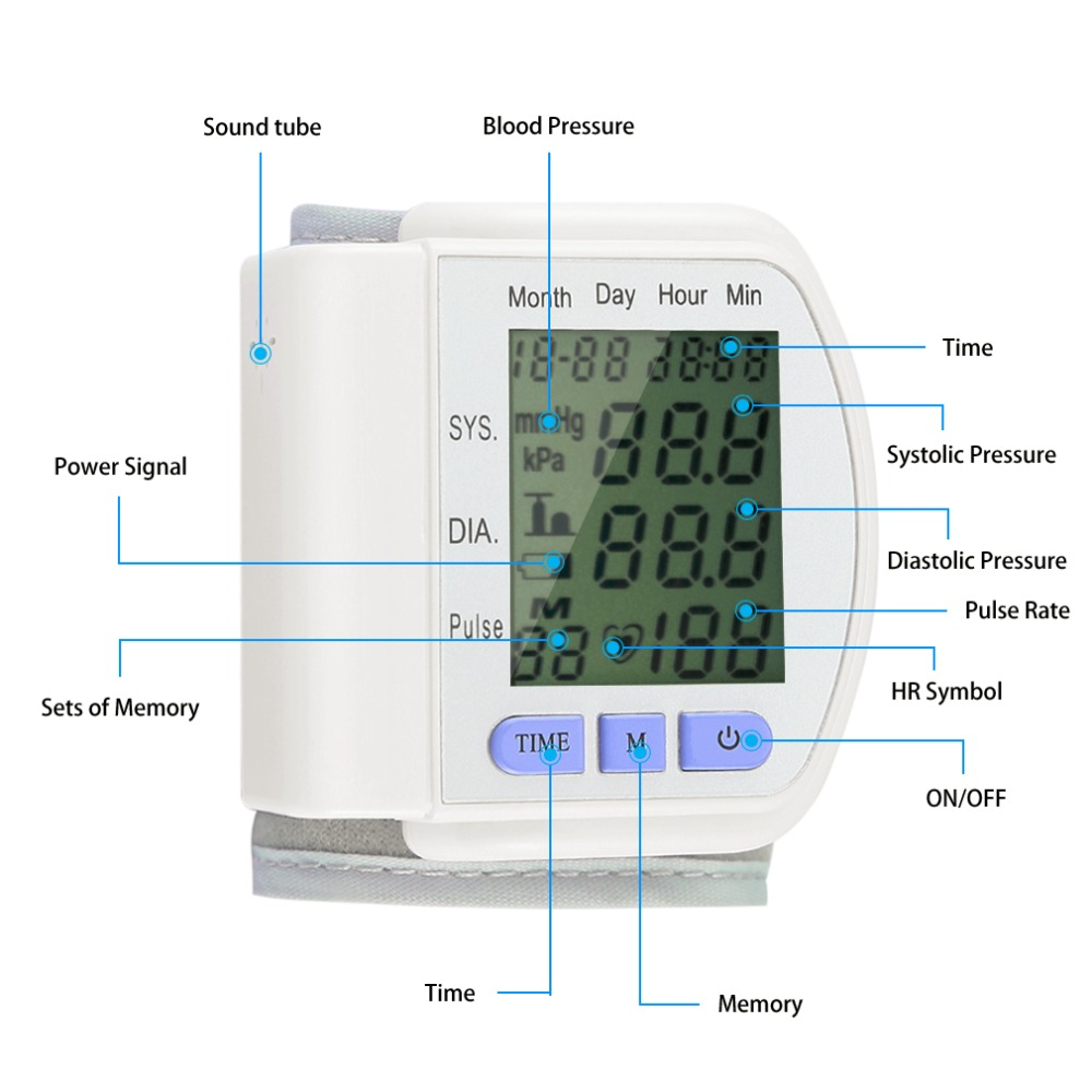 Automatic Wrist Blood Pressure Monitor Heart Beat Meter Pulse Oximeter Tonometer Health Care Arm Sphygmomanometer Digital LCD home health care russian voice digital lcd upper arm blood pressure monitor heart beat meter machine tonometer heart rate pulse