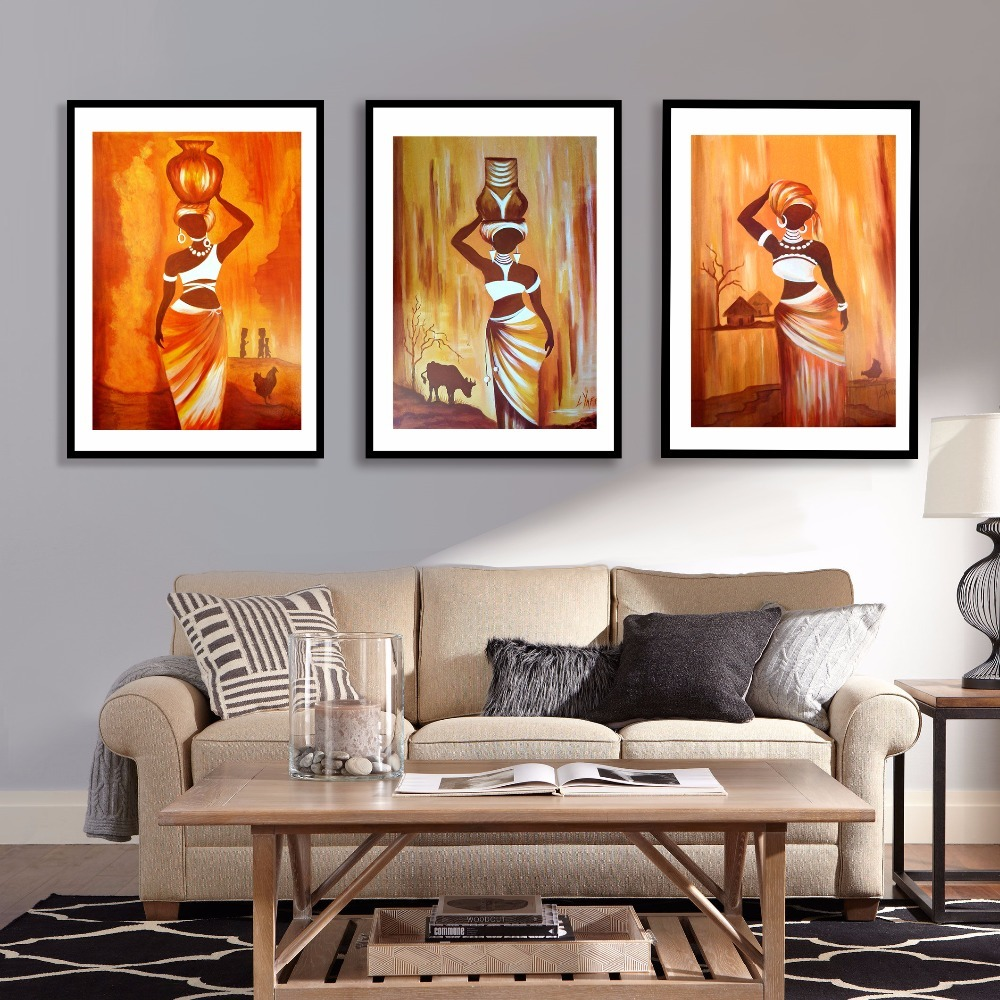2cc865b99f8 3 Pcs African Woman Canvas Art Print Triptych Painting Poster Wall Pictures  Wall Decoration Home Decor new Year gift No Frame-in Painting   Calligraphy  from ...