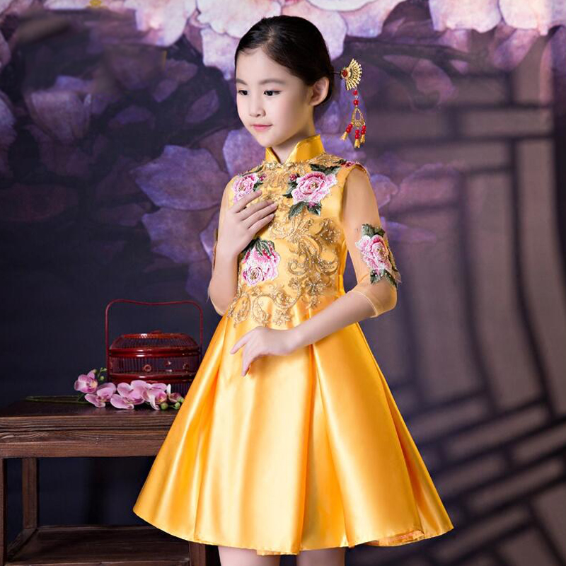 Style chinois princesse filles robe robe col montant Cheongsam broderie enfants Costume de luxe Tang Costume robes florales S223