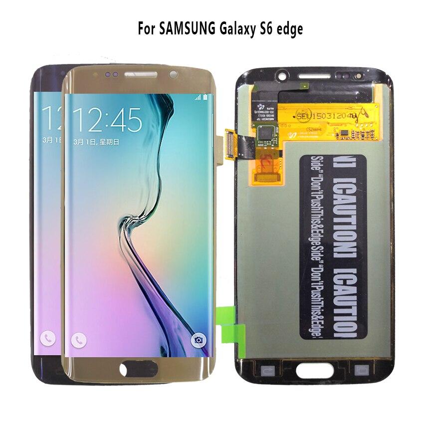 AMOLED Affichage Pour SAMSUNG Galaxy S6 bord écran lcd G925 G925I G925F numériseur à écran tactile Téléphone Pièces D'origine ÉCRAN OLED