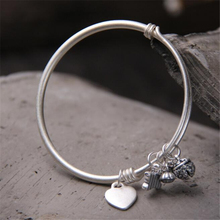 Heart Butterfly Charms Bracelets & Bangles Jewelry 100% 999 Sterling Silver For Women Adjustble 19.50g