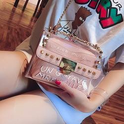 2019 Summer Fashion New Handbag High quality PVC Transparent Women bag Sweet Printed Letter Square Phone bag Chain Shoulder bag