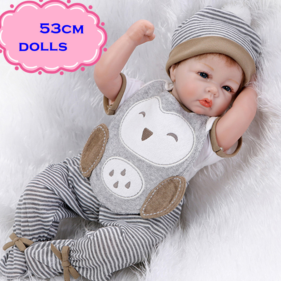 Full-Silicone-Baby-font-b-Doll 2017 New 22inch NPK Real Silicone Baby Dolls Brinquedos For Child And It's  Most Popular Adorable