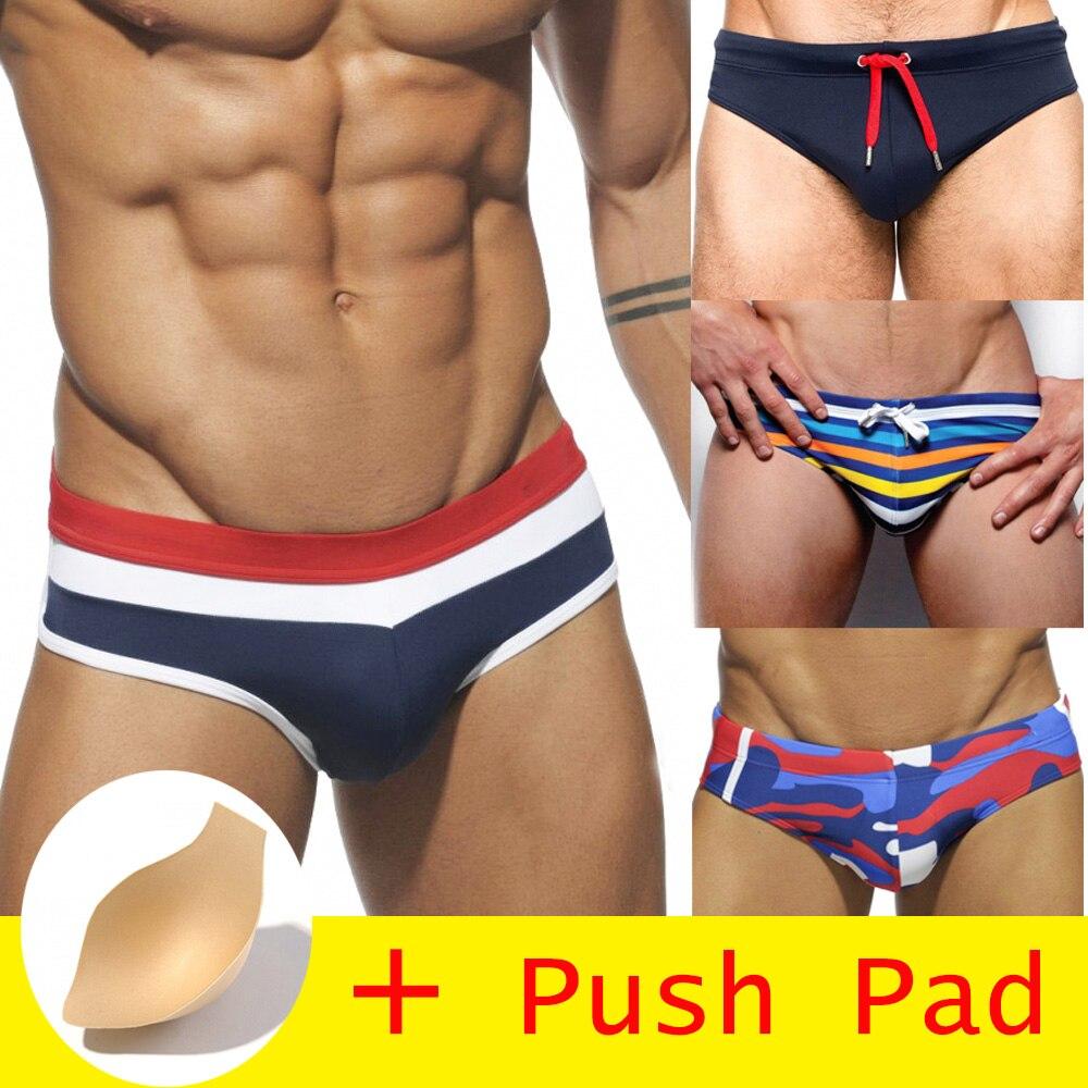 HIBUBBLE 17 Estilos Homens Swimwear Breve Com Push Pad Sexy Maiô Sunga Para Nadar Calções de Banho Sunga À Prova D' Água Quente