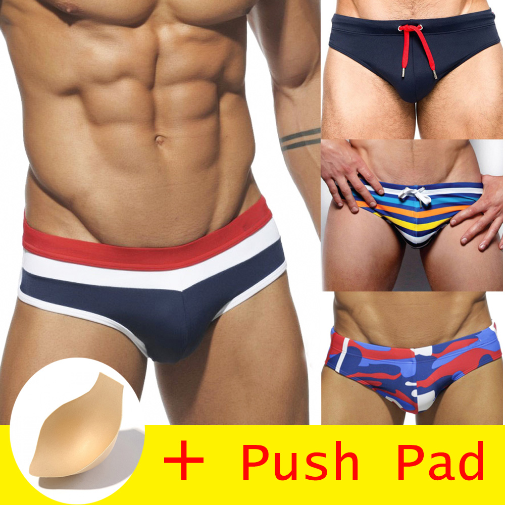 HIBUBBLE 17-Styles Swimwear Bathing Swimming-Trunks Push-Pad Men Brief Waterproof Sunga title=