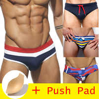 HIBUBBLE 17 Styles Swimwear Men Brief With Push Pad Sexy Swimsuit Waterproof Swimming Trunks For Bathing Swim Shorts Sunga Hot