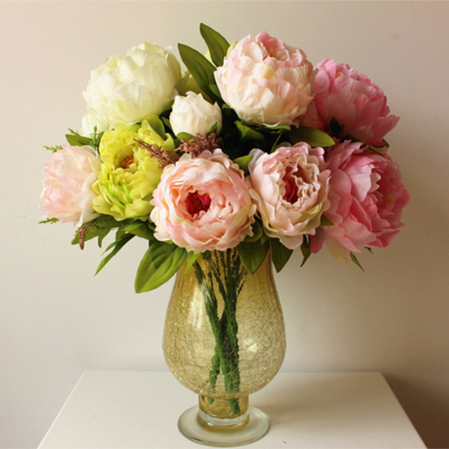 1 pcs 7 flower heads beautiful artificial peony bouquets for Artificial flowers decoration home