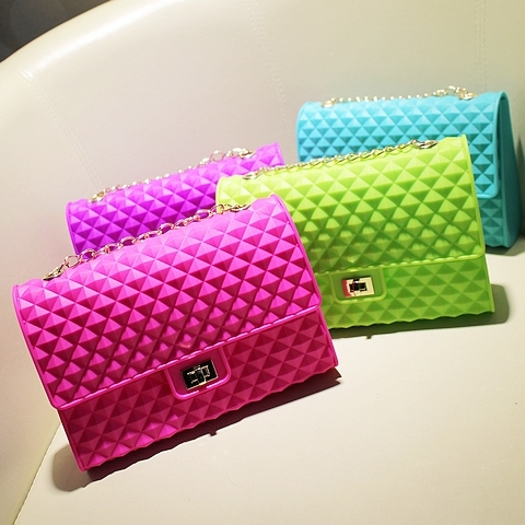 Lulu house 2013 spring and summer seven multicolour neon color candy color silica gel jelly chain bag beach bag -Free Shipping