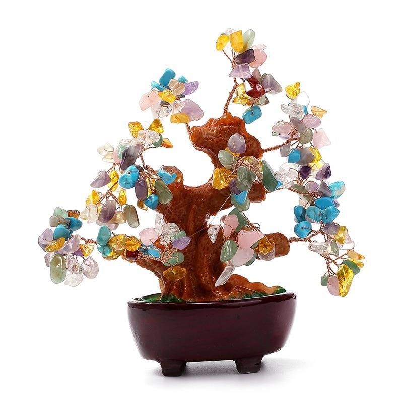 KiWarm Lucky 6 Inch Multi colored Feng Shui Aventurine Crystal Quartz Gem Stone Money Tree for Wealth Money Home Ornament Gift