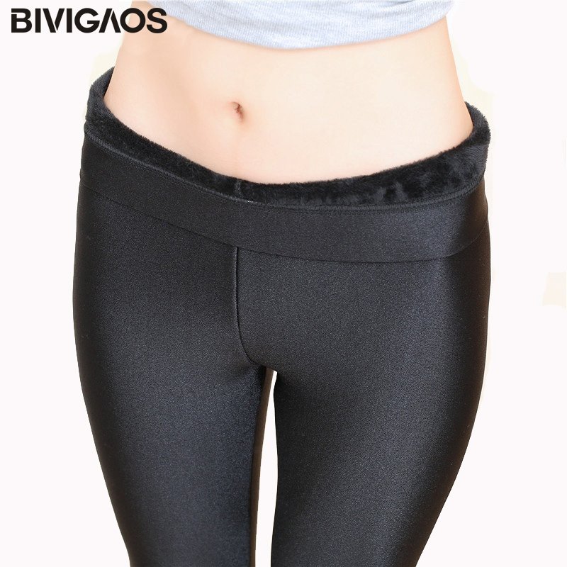 BIVIGAOS Autumn Winter Leggings Velvet Thick Warm Leggings Elastic Black Gloss Pants Slim Pencil Pants Legging Women Clothing
