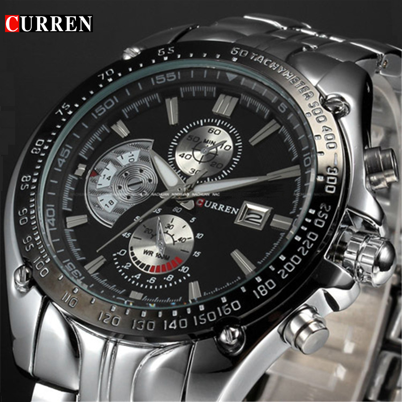 relogio masculino Hot CURREN Brand Full Steel Sport Watch Men Luxury Brand Quartz Military Sport Watches Men's Wristwatch 8083 недорго, оригинальная цена