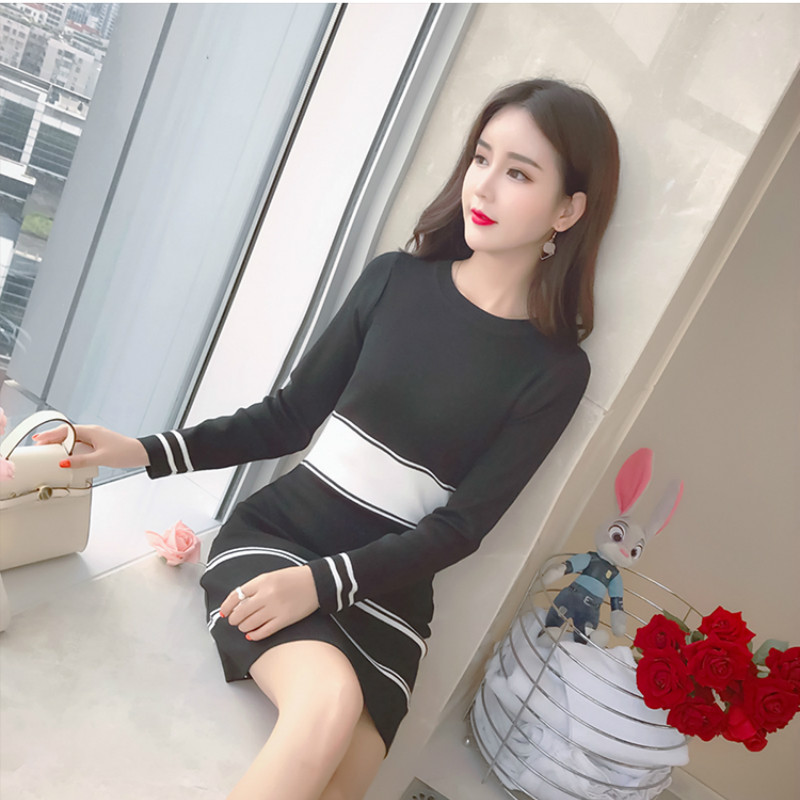 brand moda feminina designer new bandage bodycon mini-dress aesthetic korean chic elegant vestidos Striped Empire Autumn dresses 6