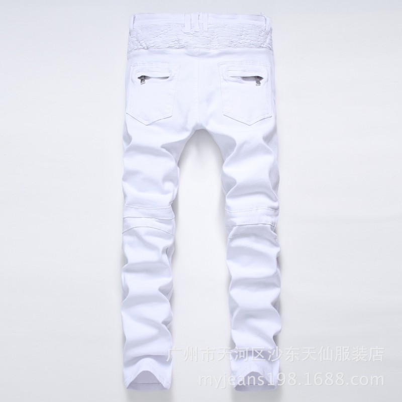 Free Shipping Big Size 7xl 8xl Plus Size Trousers Highly Elastic Silm Pants Jeans Military Men Hiphop White Pants Skinny Wrinkle